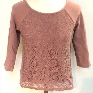 Ann Taylor LOFT dusty rose floral lace sweatshirt